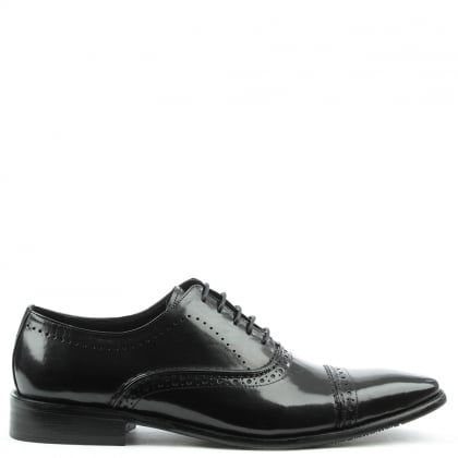 Daniel Holnest Black Leather Square Toe Brogue