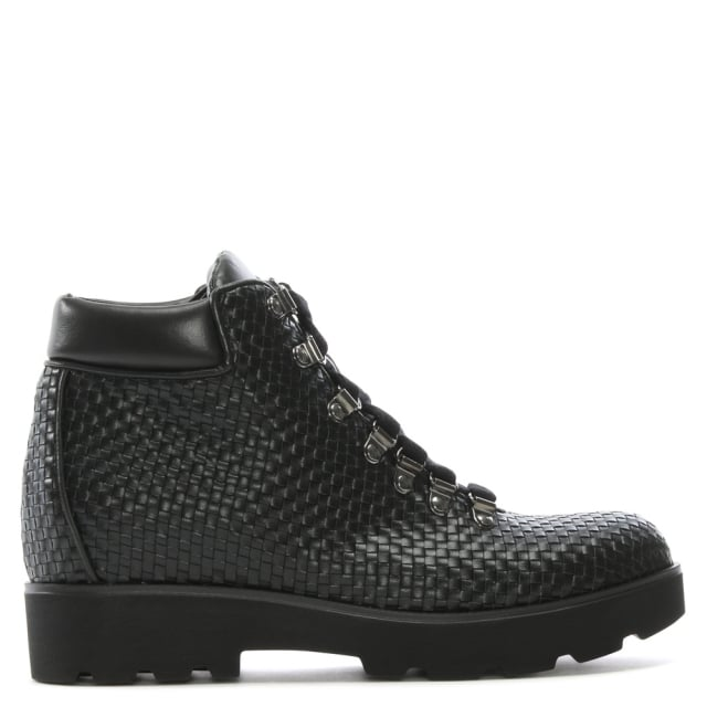 Albano Homewood Black Leather Woven Ankle Boots