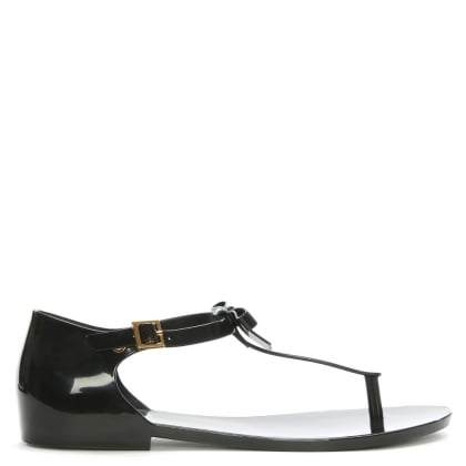 Honey Bow Black Rubber T Bar Sandals