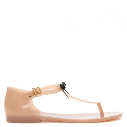 Honey Bow Nude Rubber T Bar Sandals