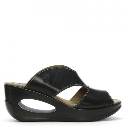 57737bc1170a Hook Black Leather Cut Away Wedge Mules. Sale. Fly London ...