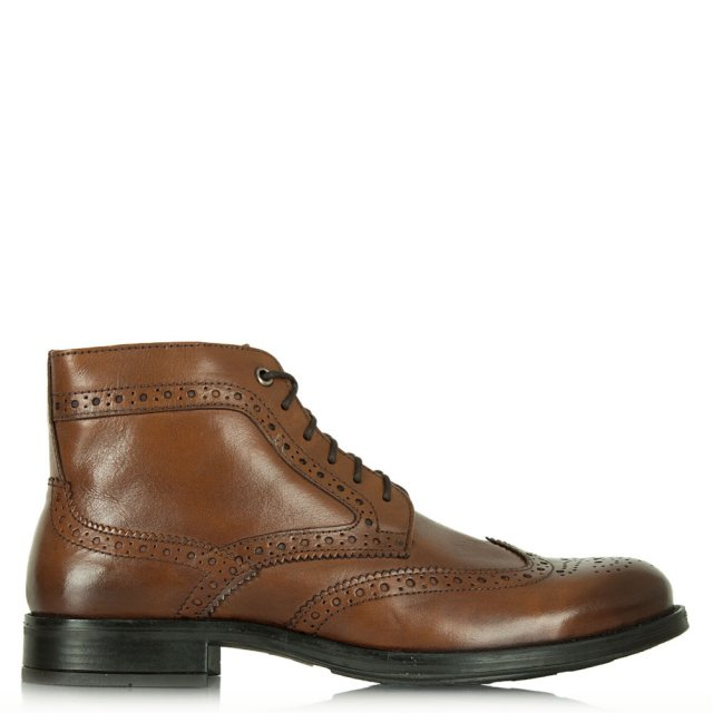 Howden Tan Leather Brogue Detail Boot
