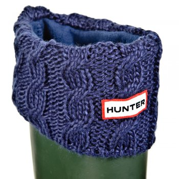 Hunter Navy Chunky Cable Cuff Welly Socks