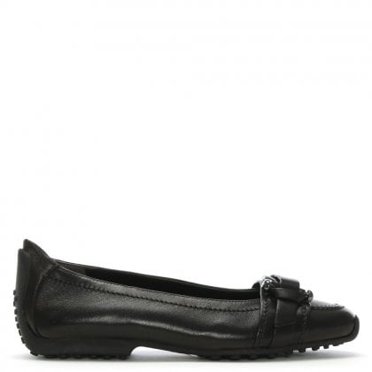 Huxley Black Leather Buckle Front Pump