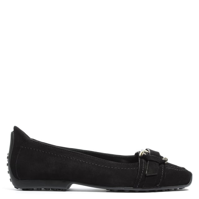 Huxley Black Suede Buckle Front Pump