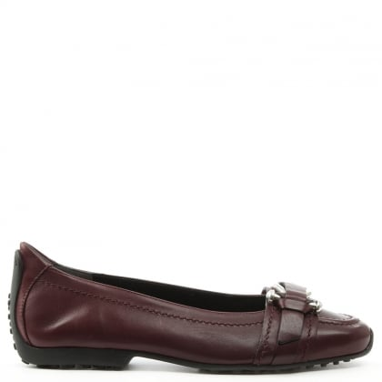 Huxley Burgundy Leather Buckle Front Pump
