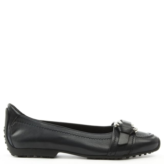 Huxley Navy Leather Buckle Front Pump