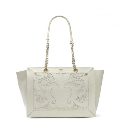 Icon Love Lace White Leather Shopper Bag