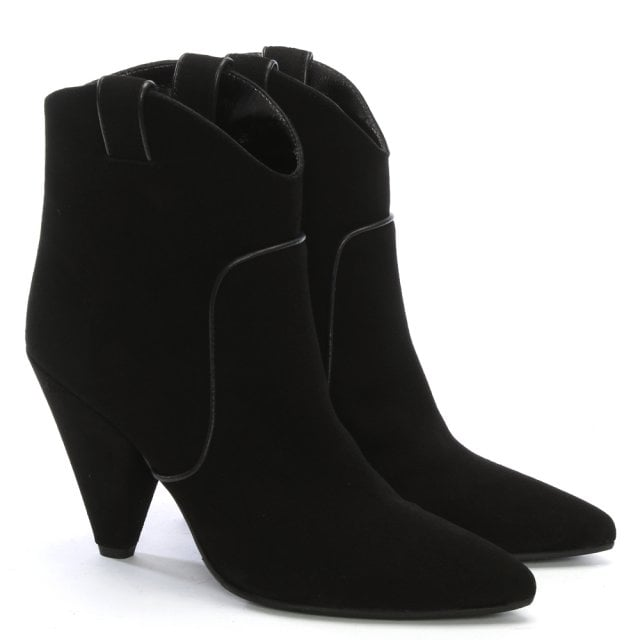 2a0484fd6051b Daniel Ideal Black Suede Western Ankle Boots