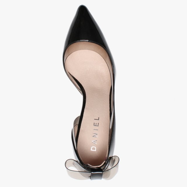 3a297634f3f Igry Black Patent Perspex Trim Bow Back Court Shoes