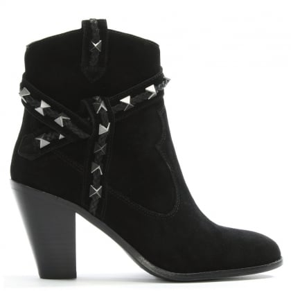 Ilona Black Suede Studded Western Boots