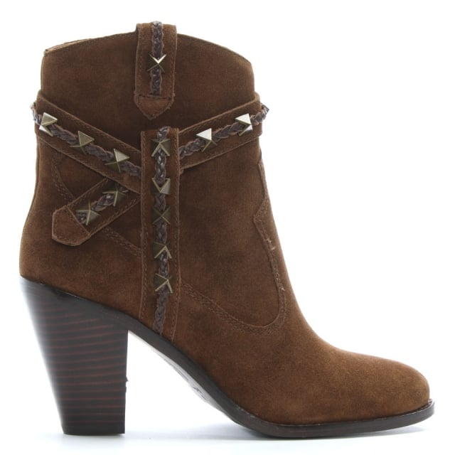 Ilona Tan Suede Studded Western Boots