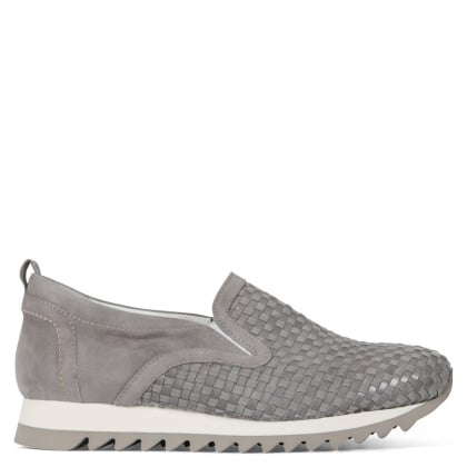 Impart Grey Suede Woven Trainers