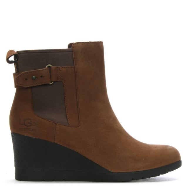 Indra Stout Leather Wedge Chelsea Boots