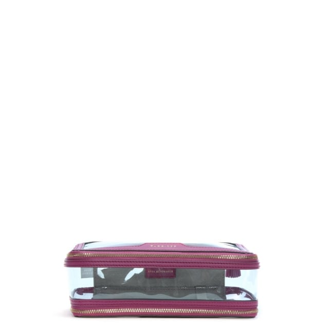 Anya Hindmarch Inflight Magenta Leather Makeup Cosmetic Bag