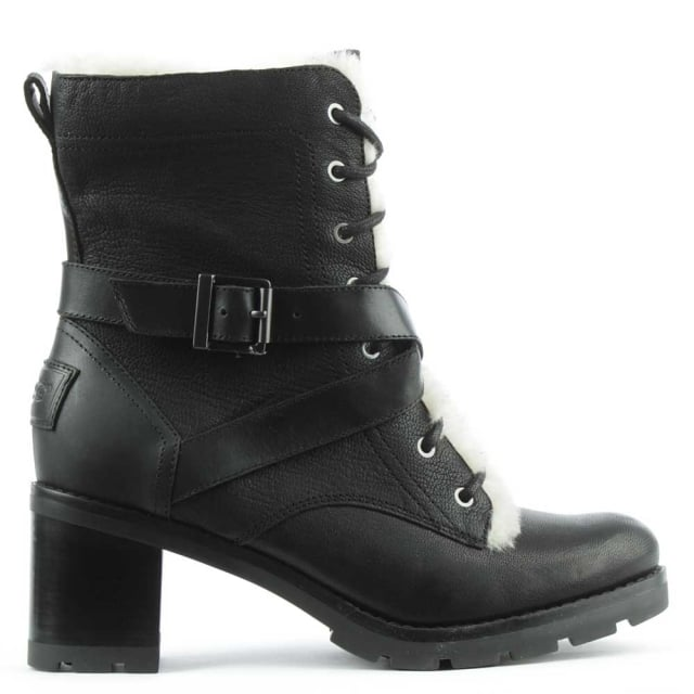 Ingrid Black Leather Block Heel Lace Up Ankle Strap Boot