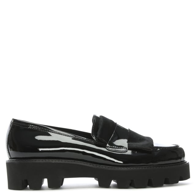 Luca Grossi Ipcress Black Patent Leather Cleated Loafers
