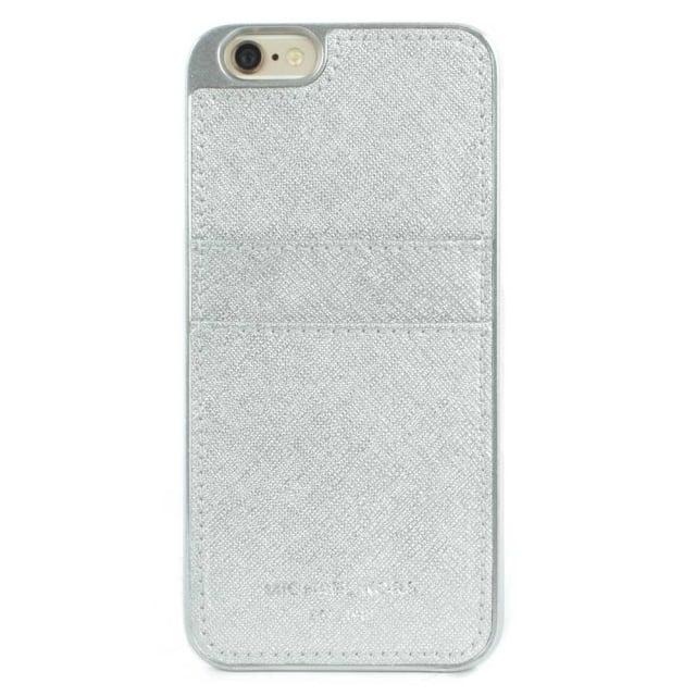 f7bc9f35129f Michael Kors iPhone 6 Silver Saffiano Leather Smartphone Case