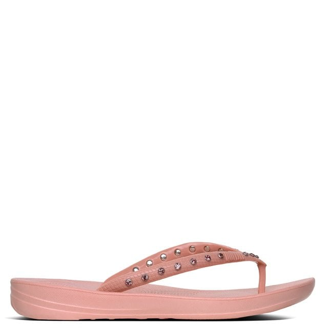 19e61bde6ca FitFlop Iqushion Crystal Dusky Pink Toe Post Flip Flops