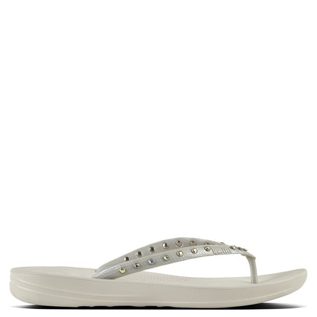 64b7008b7476 FitFlop Iqushion Crystal Silver Toe Post Flip Flops