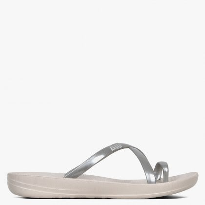 1502ab43c48 Iqushion Metallic Wave Silver Pearlised Sandals