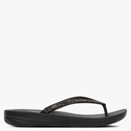 46e7549d3f33 FitFlop Iqushion Sparkle Black Flip Flops