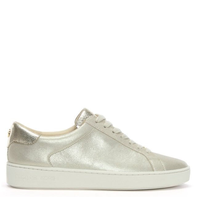 796e7bbcefb Michael Kors Irving Champagne Metallic Leather Lace Up Trainers