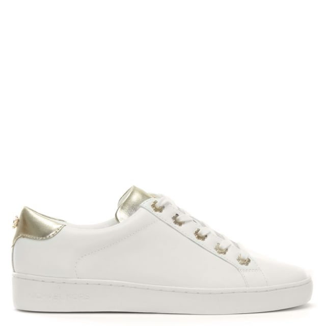 irving optic white & gold leather sneakers