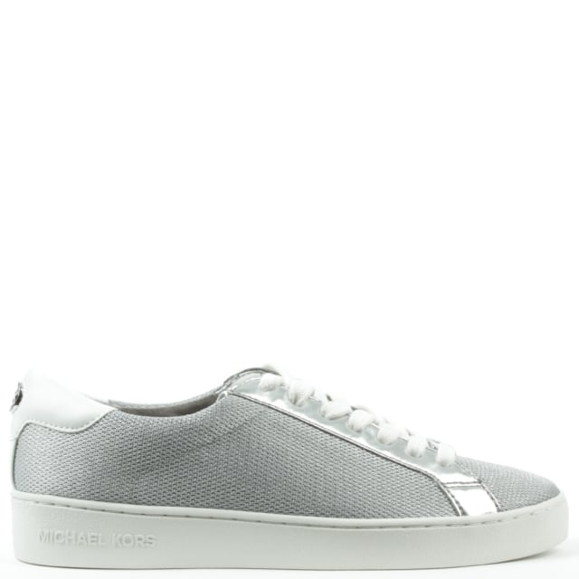 Irving Silver Leather & Mesh Lace Up Trainer