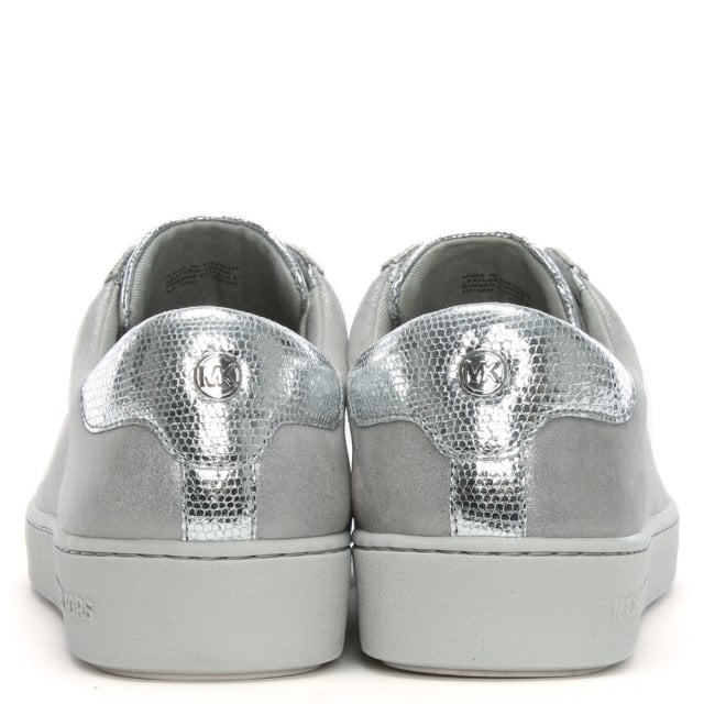 ed44925fbd06 Michael Kors Irving Silver Metallic Leather Lace Up Trainers