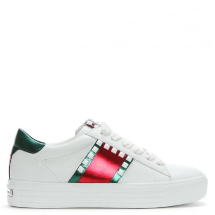 Irving White Leather Studded Lace Up Trainers