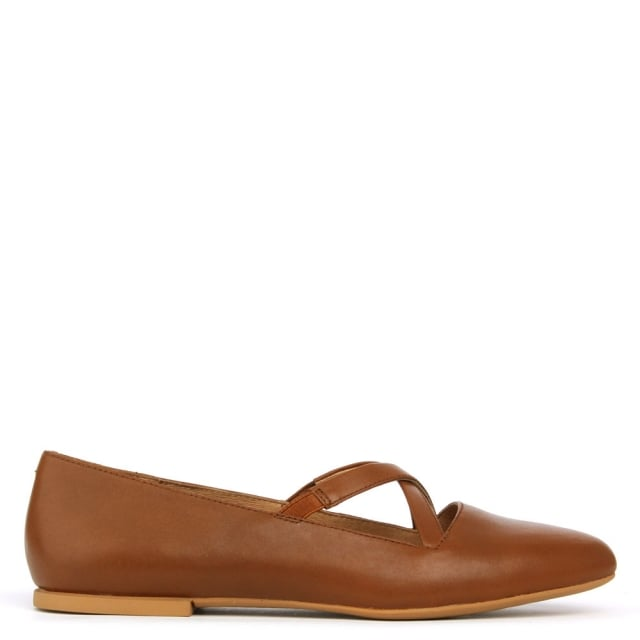 Isadora Brown Leather Cross Over Strap Ballet Pump