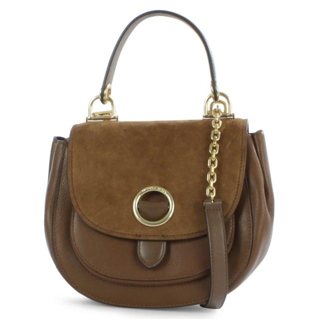 Isadore Medium Dark Caramel Suede & Leather Messenger Bag