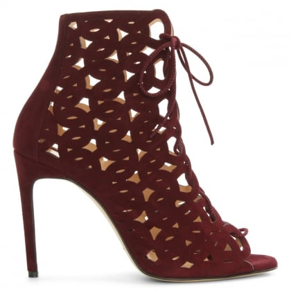 Issa Burgundy Suede Cut Away Shoe Boot