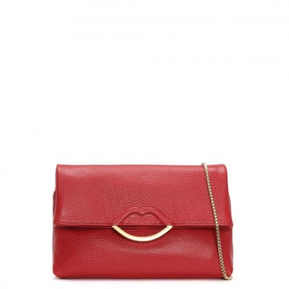 Issy Half Covered Lip Grainy Red Leather Cross-Body Bag
