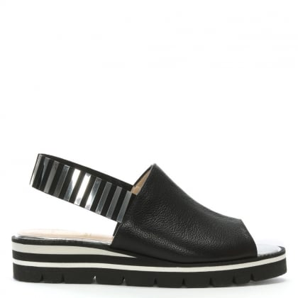 Itarsi Black Leather Striped Sling Back Sandals