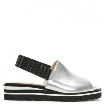 Itarsi Silver Leather Striped Sling Back Sandals