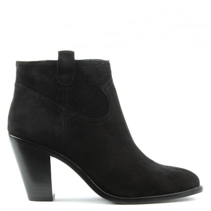 Ivana Black Suede Cowboy Ankle Boot