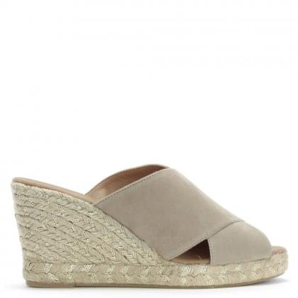 Iyas Taupe Suede Cross Strap Wedge Espadrilles