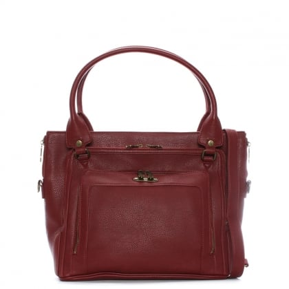 Jace Burgundy Faux Leather Tote Bag