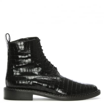 Jacenc Black Leather Reptile Ankle Boots