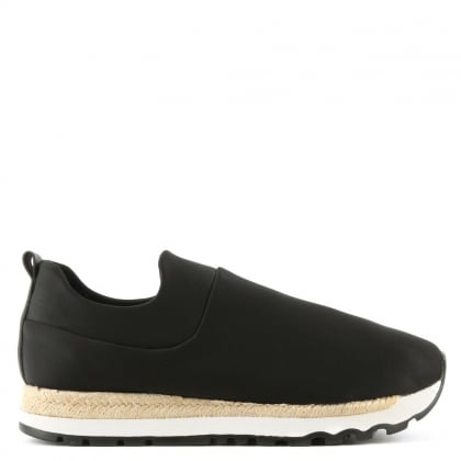 Jade Black Neoprene Espadrille Slip On Trainer