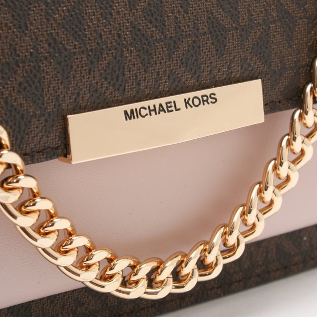 7716725a6300 Michael Kors Jade Brown & Soft Pink Logo Colour-Block Shoulder Bag