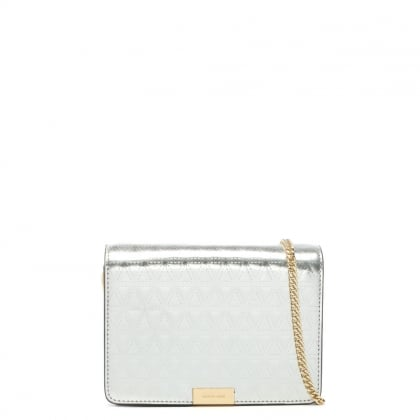 Jade Champagne Leather Embossed Clutch Bag