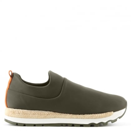 Jade Khaki Neoprene Espadrille Slip On Trainer