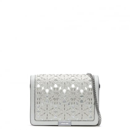 Jade Optic White Leather Floral Clutch Bag