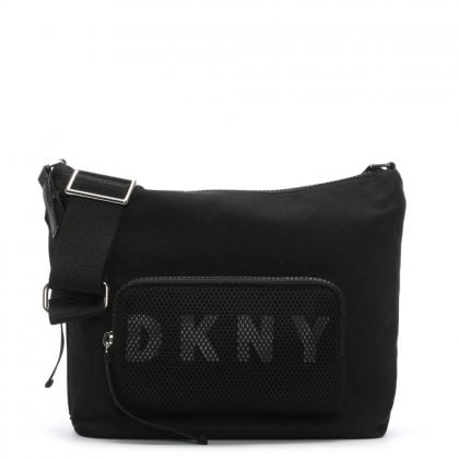 Jadyn Black Nylon Logo Messenger Bag