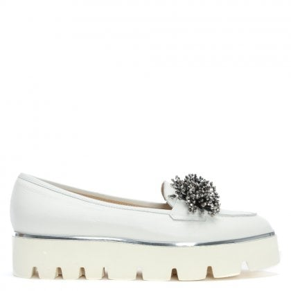 Jakam White Leather Chunky Loafers
