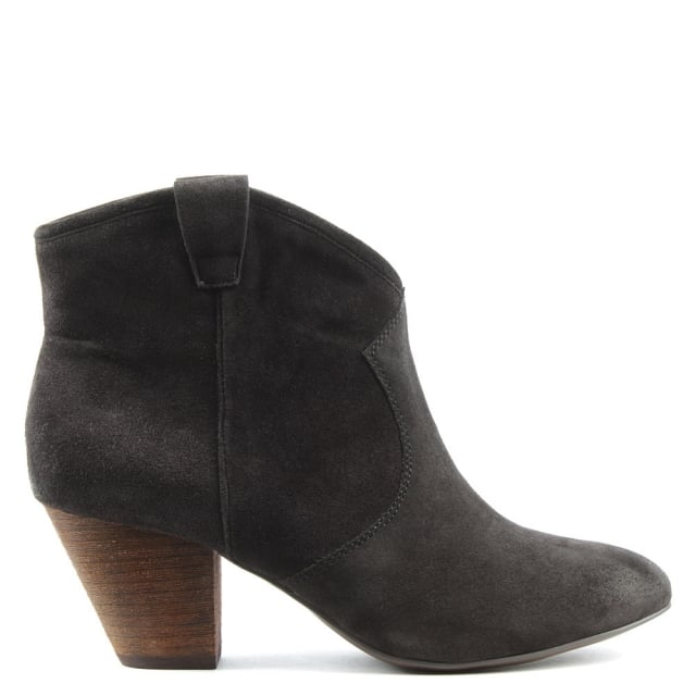 Jalouse Brown Suede Cowboy Ankle Boots