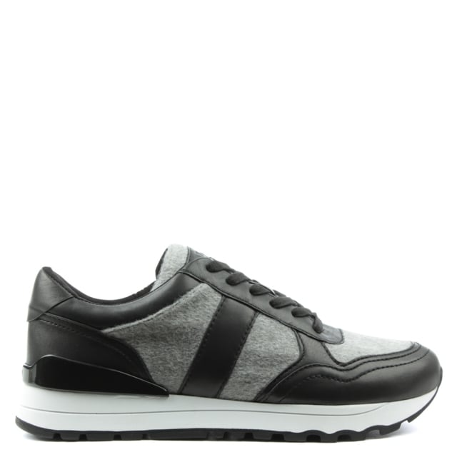 Jamie Black Leather Lace Up Trainer